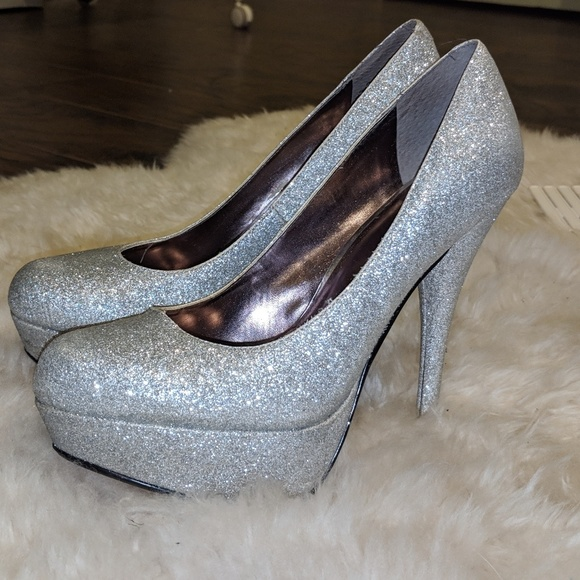 Bakers Silver Glitter Sparkle Heels Prom Shoes